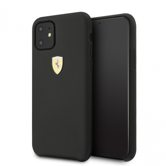 Чехол Ferrari IPhone 11 SF SILICONE CASE Sheild logo чёрный
