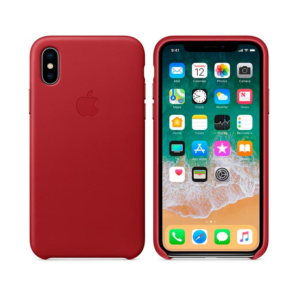 Чехол IPhone X Leather Case MQTE2ZM/A Red